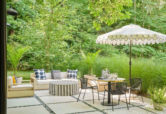 Modern concrete patio with dining and lounge furniture