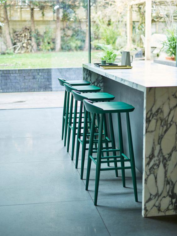 Lekker home green counter stools