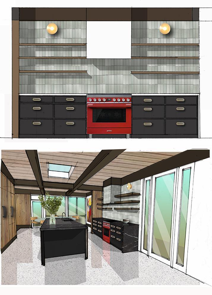 mid century kitchen design tile cabinets smeg stove