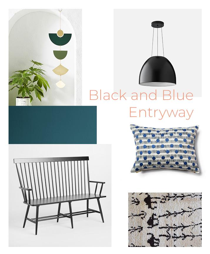 get the look black and blue entryway