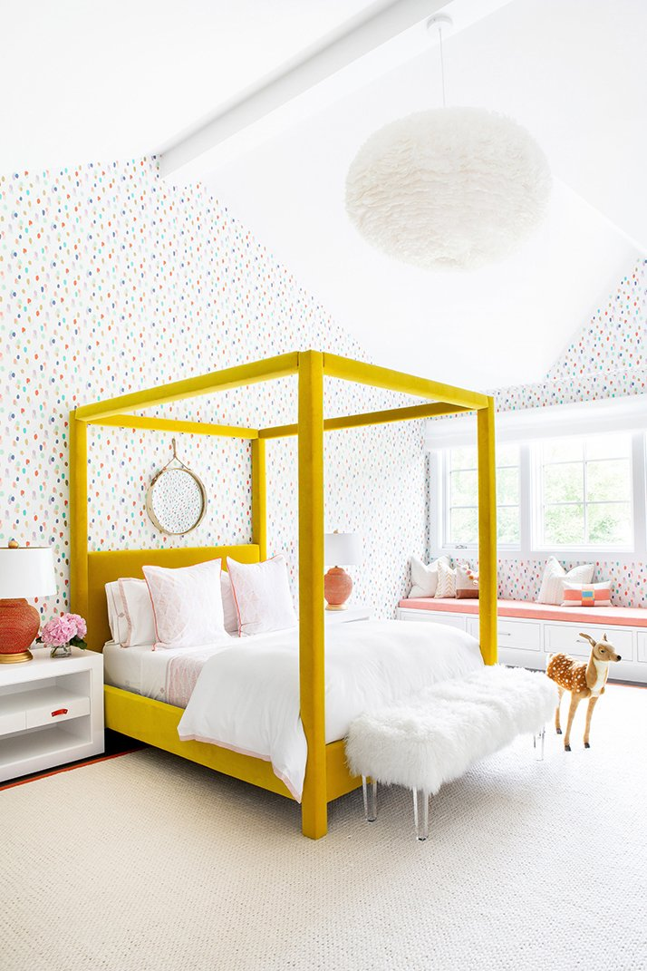 Cheerful kids bedroom yellow bed