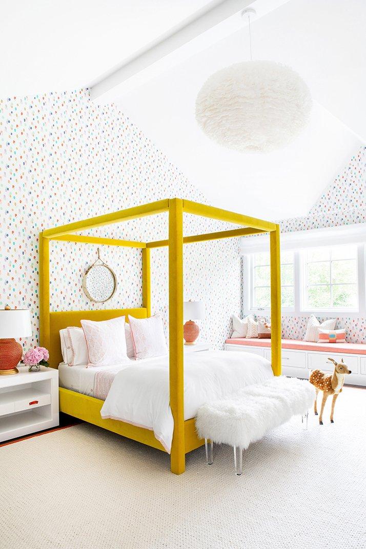 Cheerful kids bedroom yellow bed