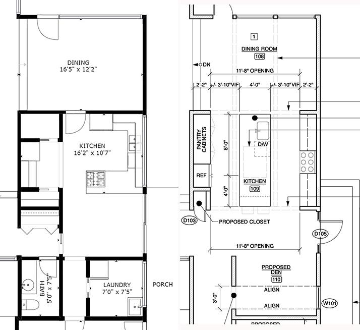 before and after kitchen plan